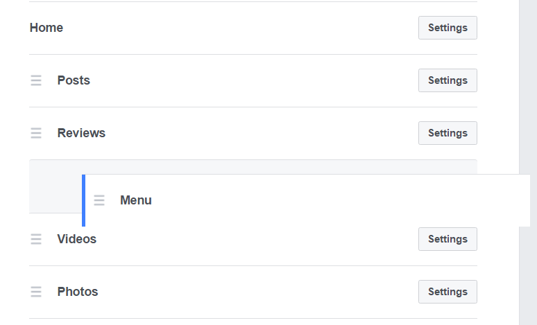 facebook menu tab