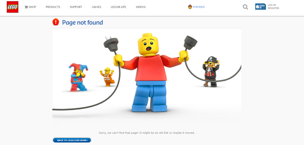 Lego's 404 Error page is so cute, you can't be that mad!