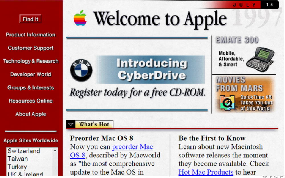 This is Apple's website circa 1997! Via CNN