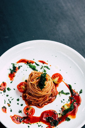 pasta dish with tomato sauce and tomatoes