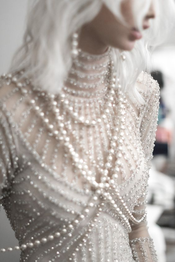 stylish pearl wedding dress