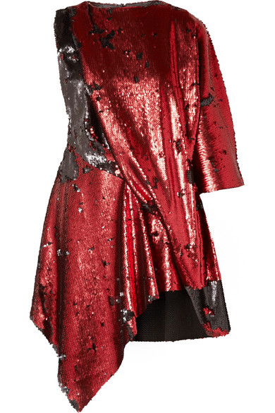 MARQUES' ALMEIDA Draped asymmetric sequined tulle mini dress.jpg