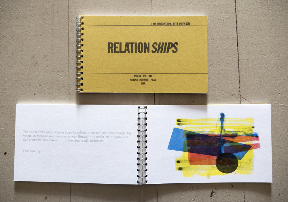 Pages from  Relationships , made in collaboration with National Monument Press. This book uses the language and symbols of the International Code of Signals to speak about distress, confusion and communication within relationships.