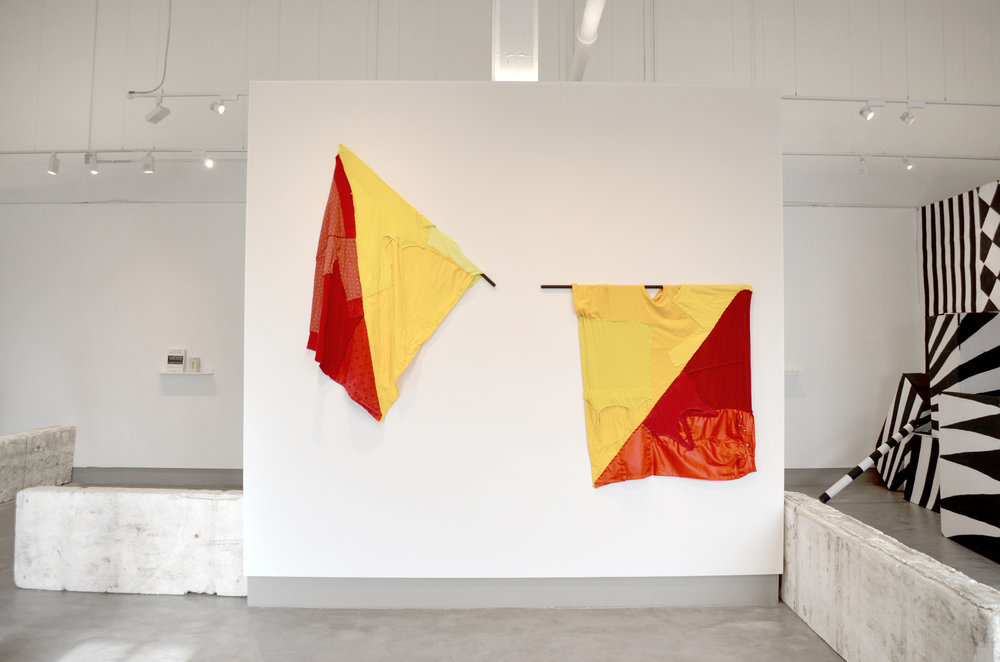 Semaphore flags made from discarded clothing