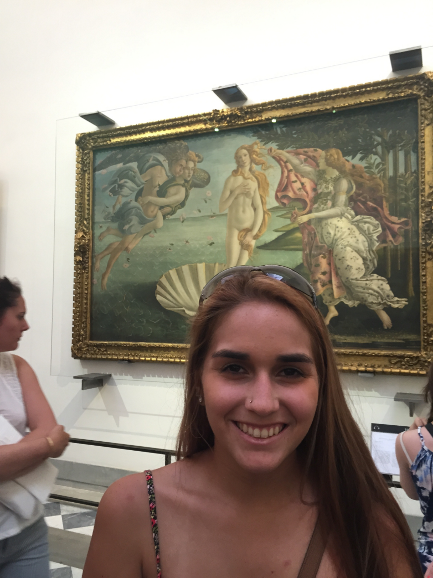 Myself in front of the Birth of Venus by Botticelli.