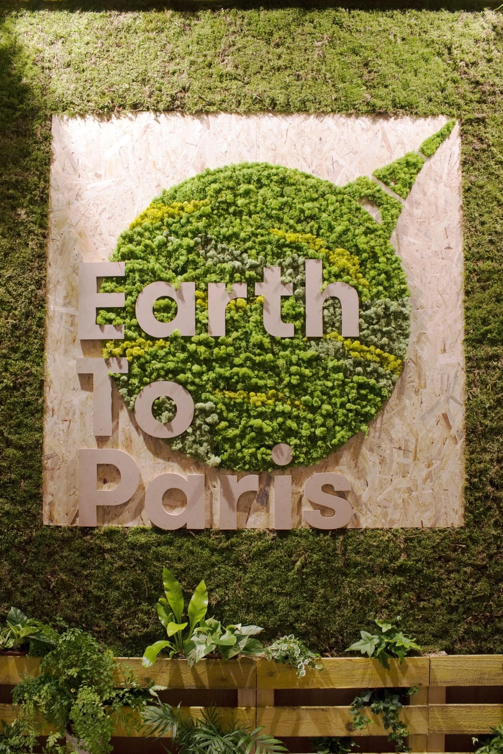 Living wall entrance at the Earth to Paris event hosted by the UN Foundation at the Petit Palais, Paris.
