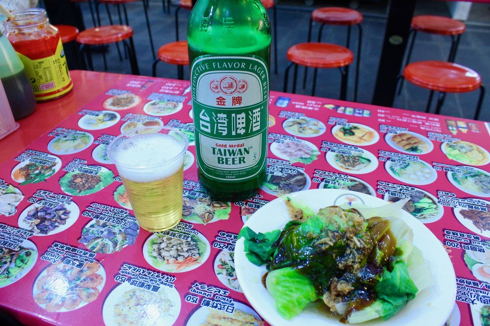 My small dinner of veggies and beer at Shilin Night Market.