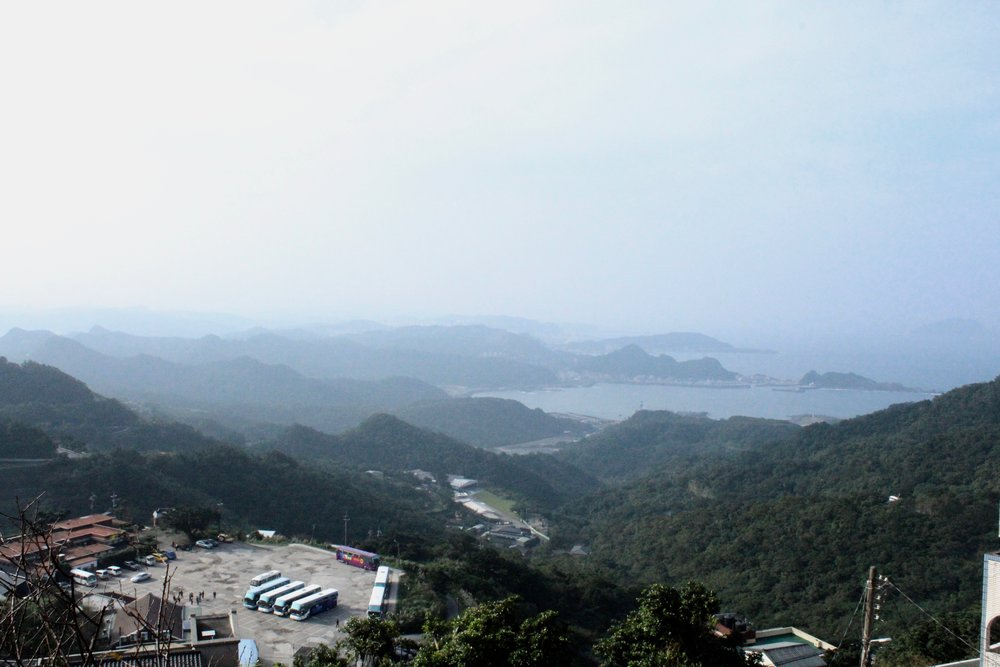 View from Jiufen down on the coastline.