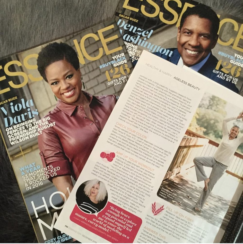 ESSENCE MAGAZINE  Issued: December 2016  Page: 142  Model: Lisa V. Arrington  Article: Over 50 and Fabulous