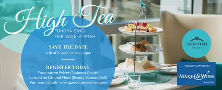 Charity High Tea Event 'Bake a Wish' collaboration between Passiontree Velvet and Make a Wish Foundation