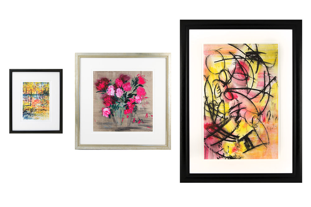 These are examples of how a small medium and large print look when they are mounted and framed.