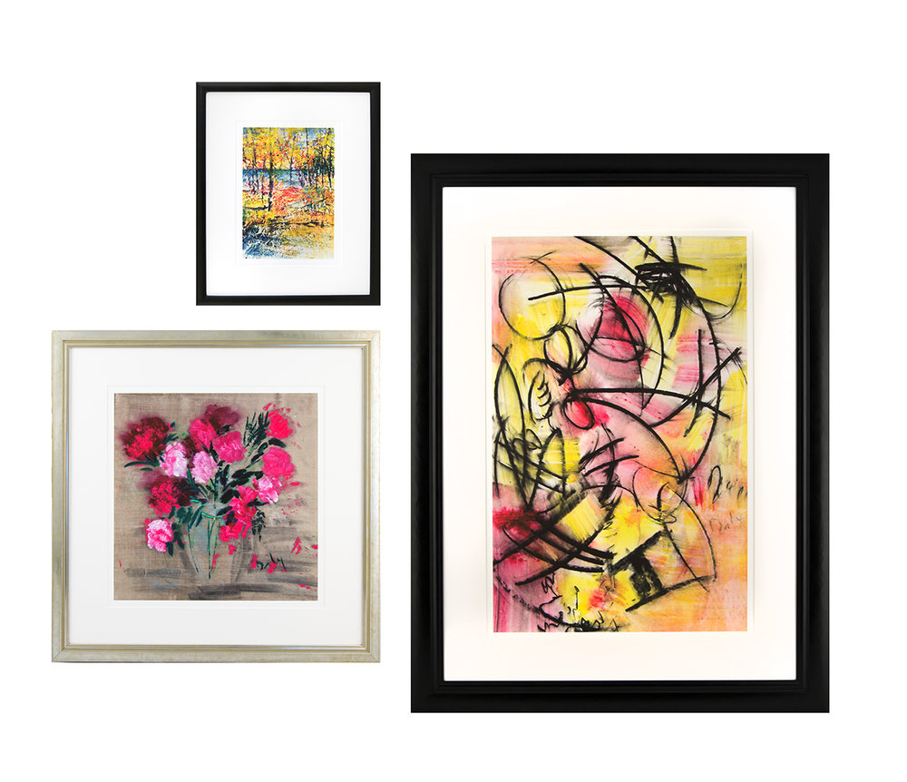Examples of matted and framed  small, medium and large prints