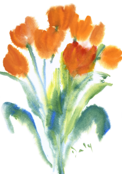 Tulip's for Caroline - this is the sister piece for Irises for Dorothy - both available as prints - they make a perfect pair!