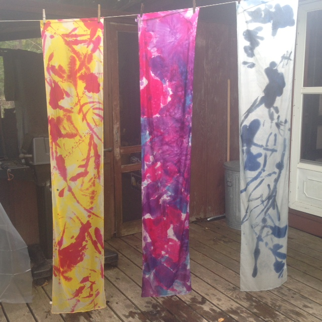 Scarves! Fresh out of the dye set—waiting to be washed in Woolite and pressed.
