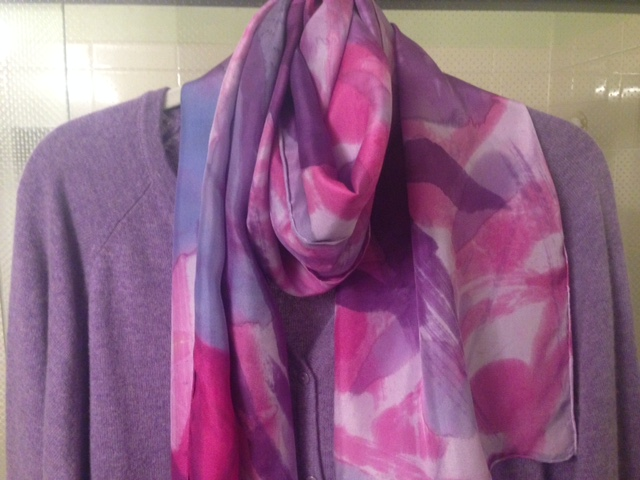 "The ""Mary Kay!"" This gorgeous scarf goes perfectly with her new purple cashmere sweater and a favorite hot pink silk blouse! Yum, yum!!!"