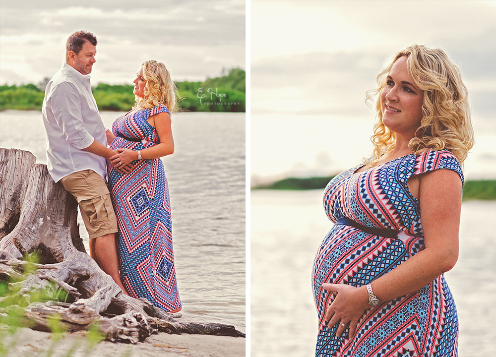 Maternity photos at Fort de Soto's North Beach, off the beaten path we found some driftwood and mangroves at sunset.