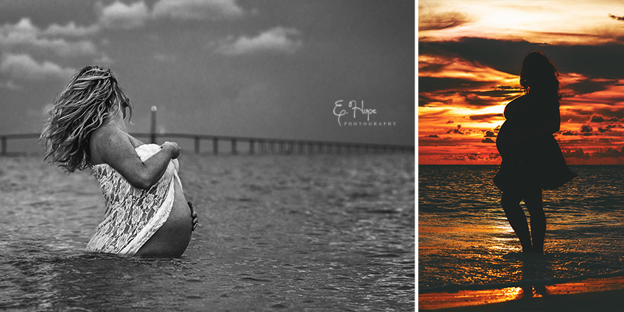 Sunset Maternity photos at Fort de Soto, East Beach and North Beach.