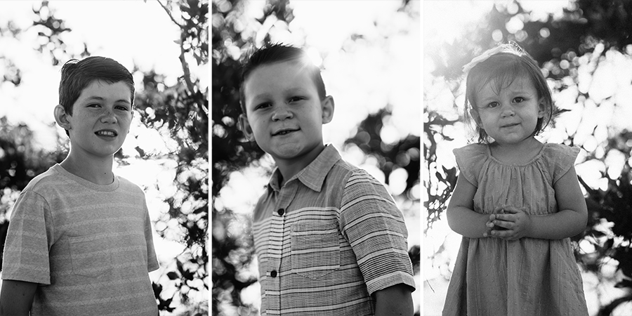 Jayden, Jude & Myla in a classic black and white portrait with oodles of bokeh