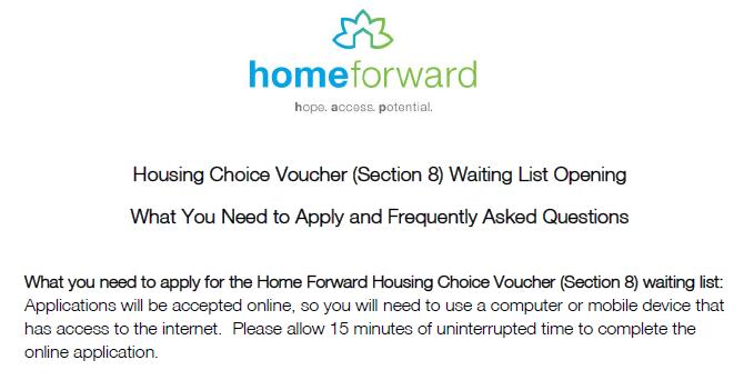 Home Forward will Open their Housing Choice Voucher Wait