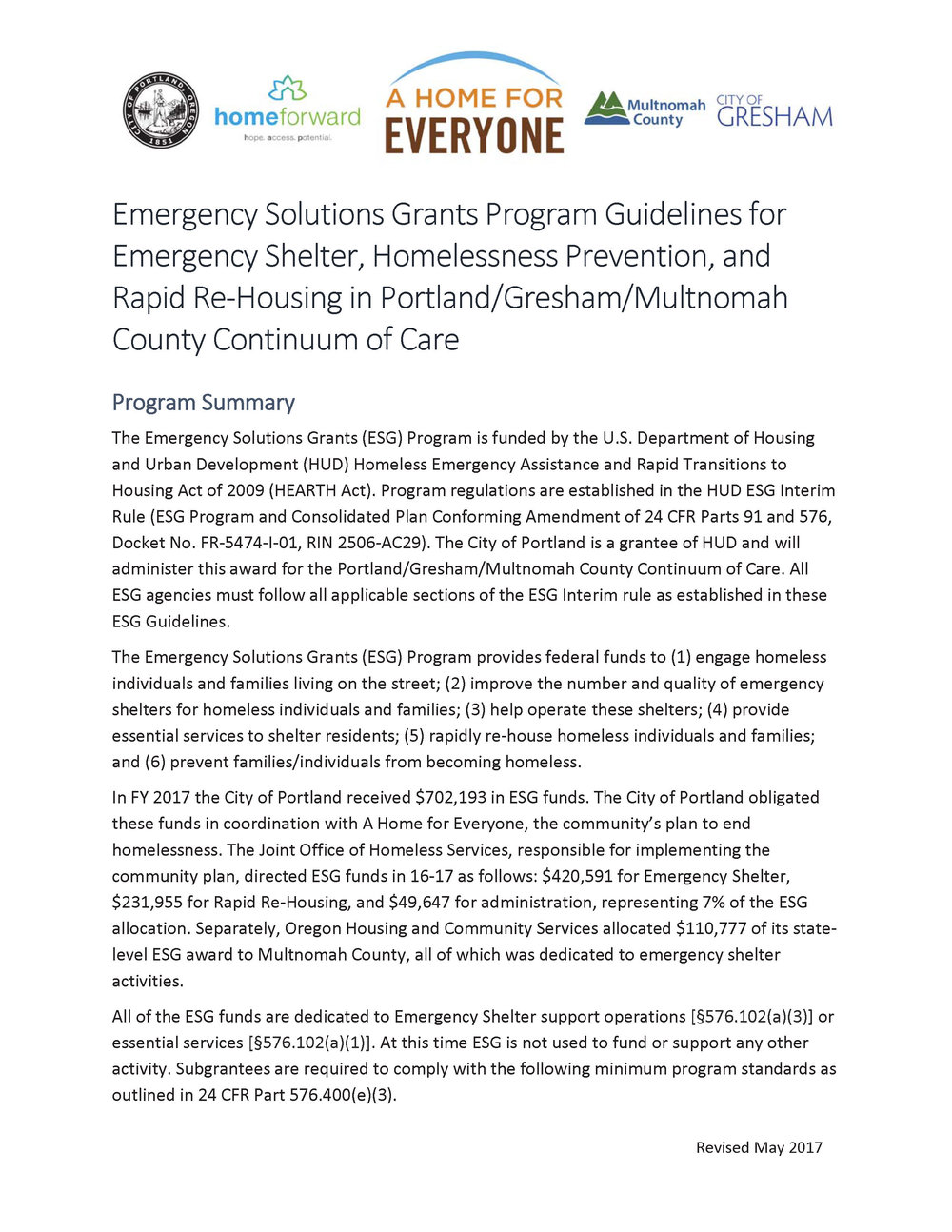 Read: ESG Guidelines for Portland/Gresham/Multnomah County