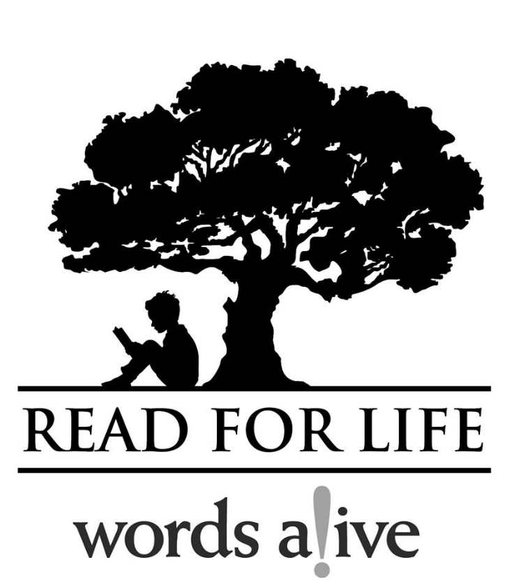 "Image of a child reading under a tree with the words ""Read for Life"". Via  Words Alive"