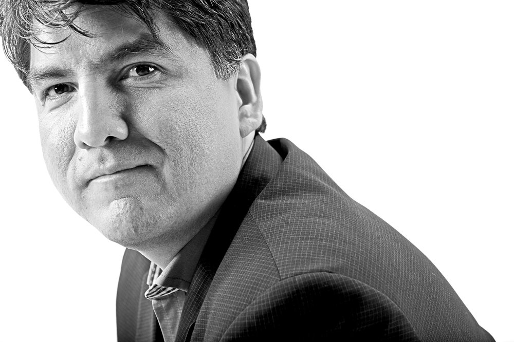 Sherman Alexie, posing for Chase Jarvis of the Grove Atlantic