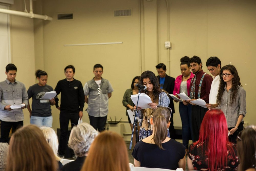 Students performing monologues as part of the Arts Component.