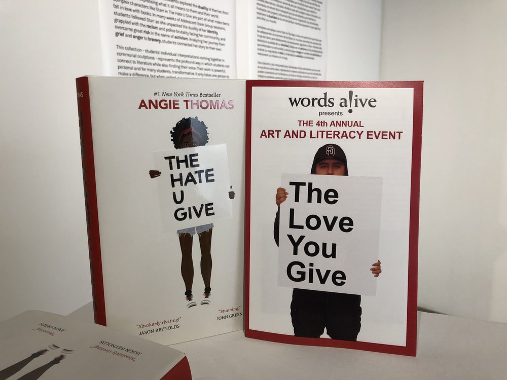 An image of the Words Alive program for The Love You Give next to the book cover for The Hate U Give.