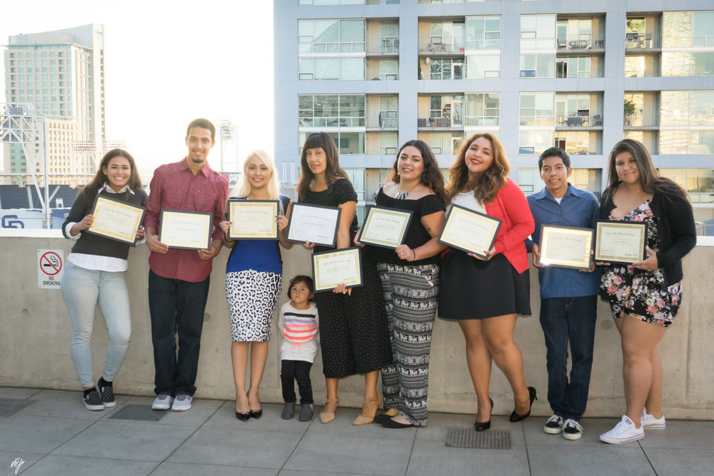 Image: The 2017-2018 Words Alive Westreich Scholars pose with their awards at the San Diego Central Library.