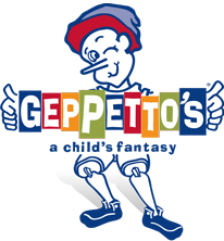 "Image of the Geppetto's logo! The logo features a toy Pinocchio holding a sign that says ""Geppetto's"" with the tagline ""a child's fantasy""."