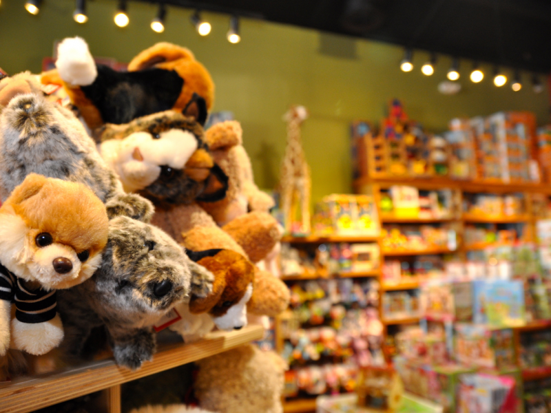 An image of the various, overflowing toys available at Geppetto's!