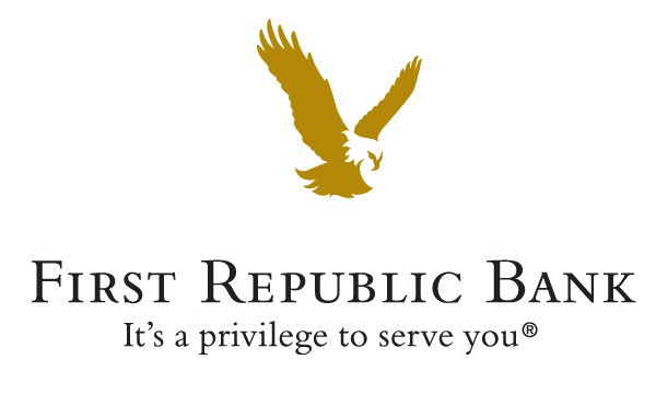 """Image: the First Republic Bank logo with features a gold eagle on a white background and the tagline """"It's a privilege to serve you."""""""