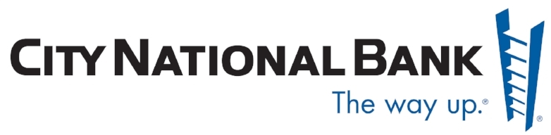"An image of the City National Bank logo, which features a latter and the tagline ""The way up."""