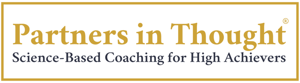 "An image of the Partners in Thought logo, featuring the tagline ""Science-Based Coaching for High Achievers."""