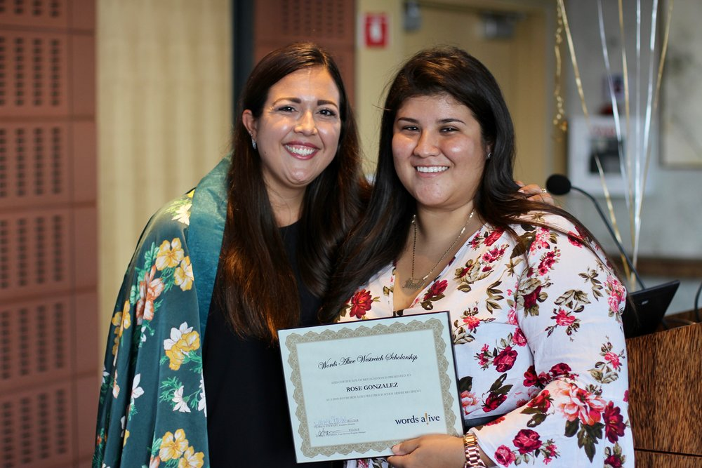 An image of Jessica Fryman, Teen Services Program Manager, standing with Rose Gonzalez at the Words Alive Westreich Scholarship Ceremony.