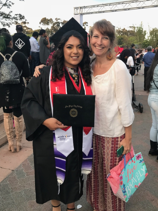An image of Zaphire with her mentor Tammy Greenwood at Zaphire's graduation from San Diego City College.