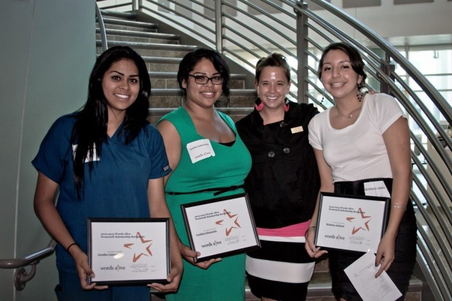 An image of Brittany with former staff member Chrissy Califf and other scholarship recipients at the 2010 Words Alive Westreich Scholarship Ceremony - her first year in the program!