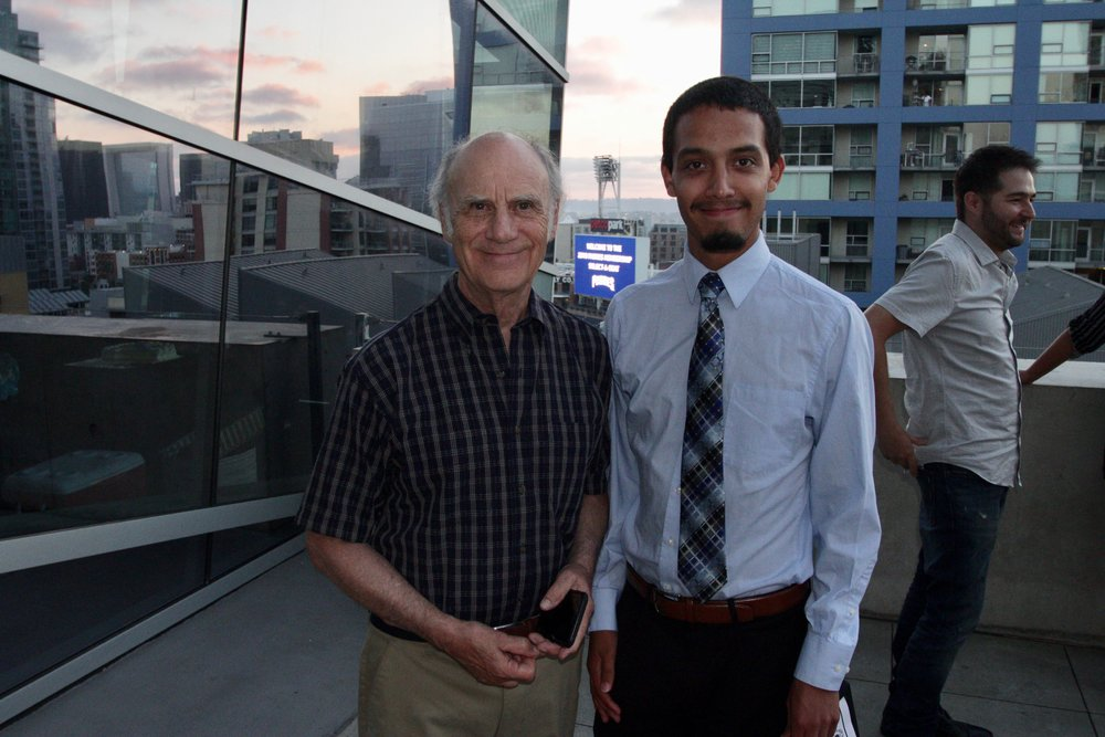 An image of our scholar Damieon with his mentor David at the 2018 Words Alive Westrecih Scholarship Award Ceremony.