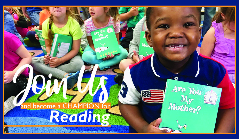 "An image of a young child in our Read Aloud Program holding up a copy of ""Are You My Mother?"" and smiling at the camera. The image has text that says ""Join us and become a champion for reading."""