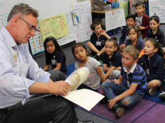 Congressman Scott Peters reads to a K–2 classroom as part of our annual Share Your Love of Reading Campaign.