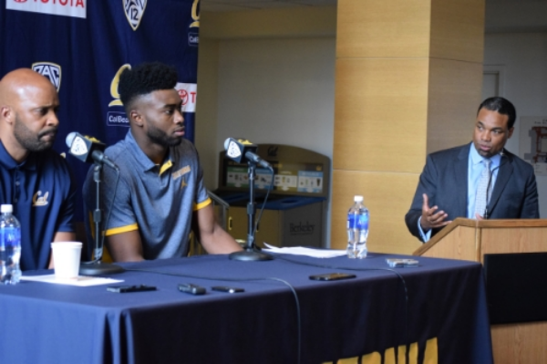 mallette (r) leads press conference as jaylen brown announces he will enter the 2016 draft (M) with men's head basketball coach, cuonzo martin (L)