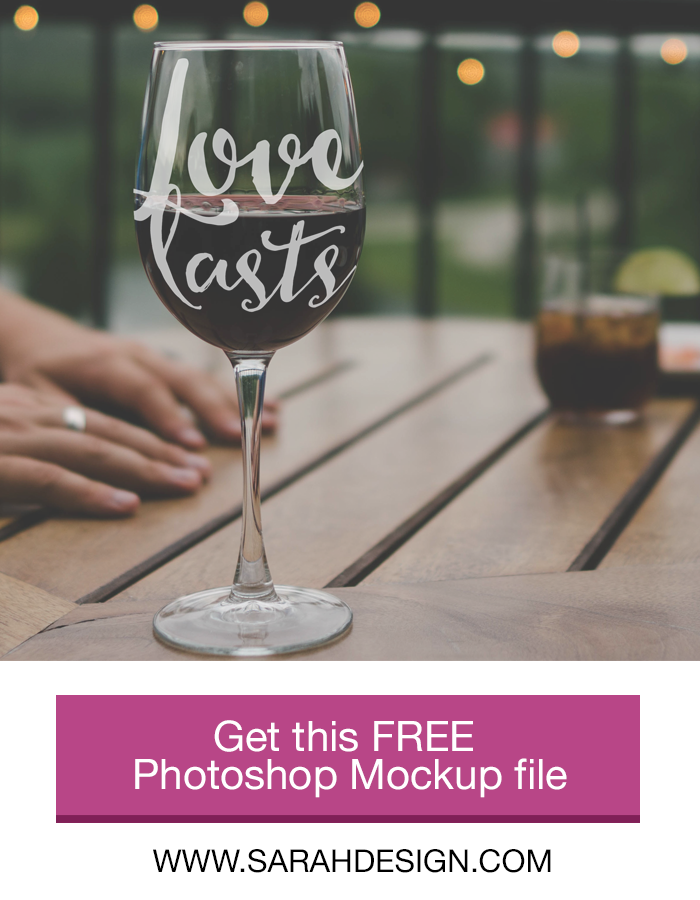This PSD is free in the blog post! If you want to use mockup templates for product images in your die-cutting shop but aren't sure how, then this blog post will help. This detailed comparison of Canva, PicMonkey, Silhouette Studio, and Photoshop covers the costs, pros & cons, and gives detailed examples of a mockup test in each. You'll learn why Photoshop is the ideal (and easier than you think!) choice for product mockup images. Click through to read the whole post and download the FREE Photoshop Wineglass Mockup file!