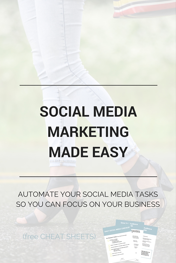 Social Media Marketing Made Easy. Are you taking full advantage of your social media platforms? Pinterest and Twitter drive the most traffic to my website over any other backlinks. Click through to see how! Plus a free social media daily checklist and cheat sheet.