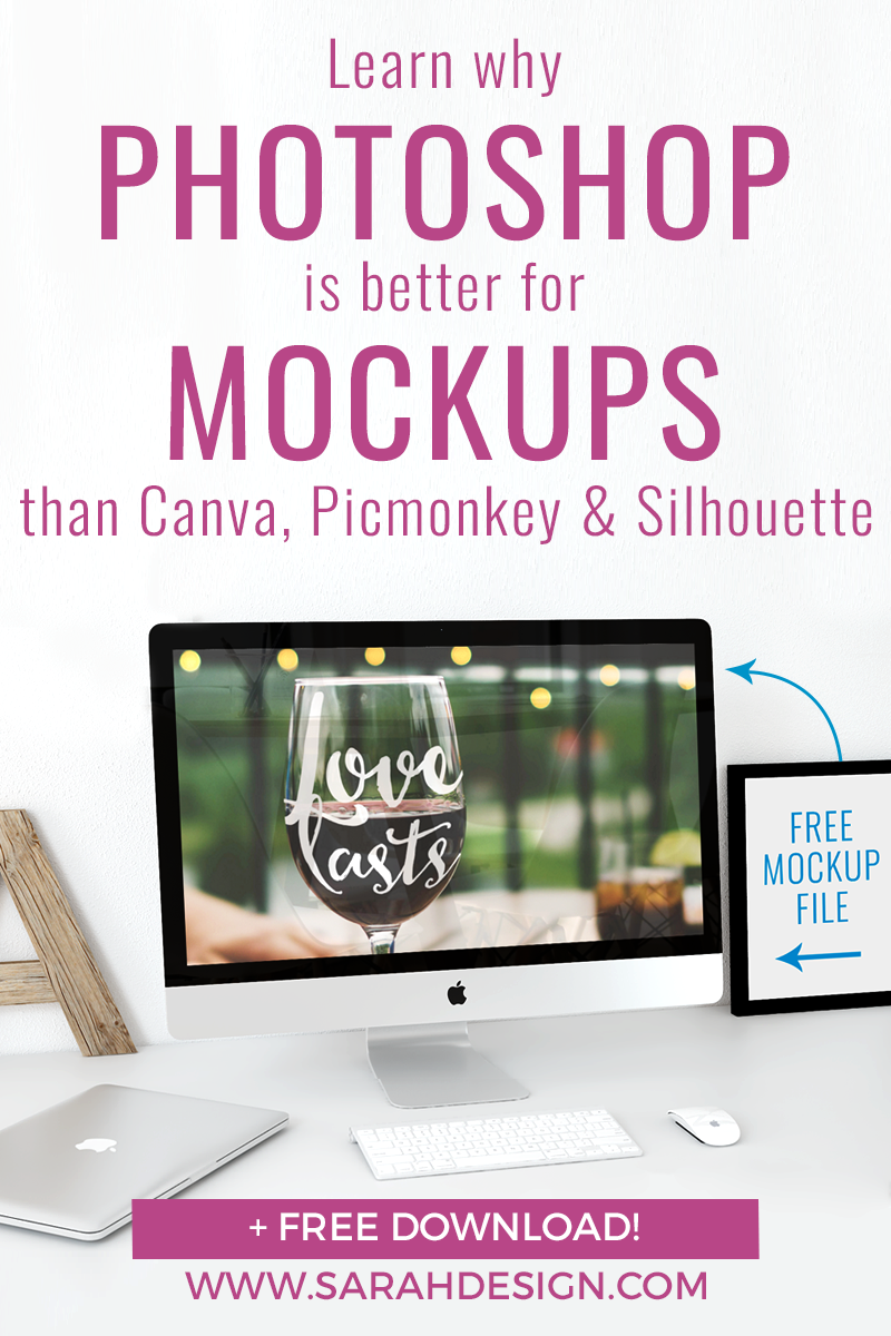 If you want to use mockup templates for product images in your die-cutting shop but aren't sure how, then this blog post will help! This detailed comparison of Canva, PicMonkey, Silhouette Studio, and Photoshop covers the costs, pros & cons, and gives detailed examples of a mockup test in each. You'll learn why Photoshop is the ideal (and easier than you think!) choice for product mockup images. Click through to read the whole post and download the FREE Photoshop Wineglass Mockup file!