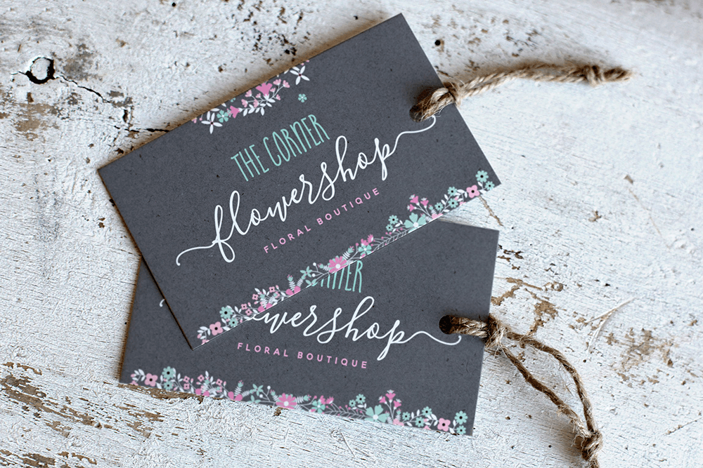 Example of Blooming Elegant font on tag cards for a flower shop