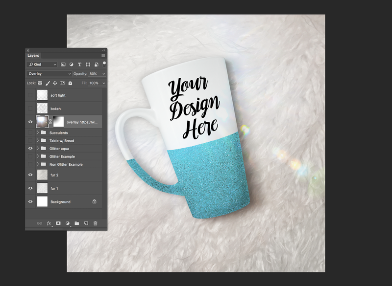light flare overlay on drinkware mockup