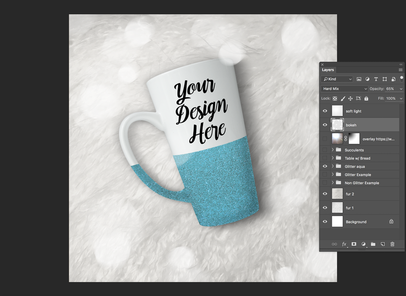 Light spots bokeh style blending mode hard mix plus overlay on drinkware mockup