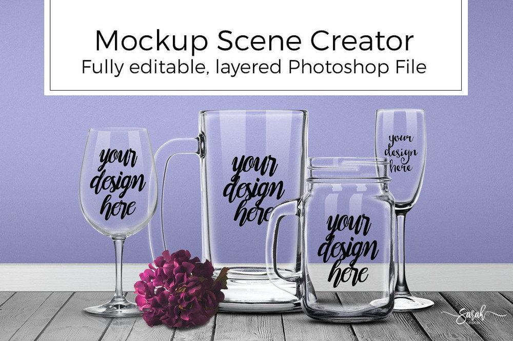 Mockup Scene Creator Glass SarahDesign