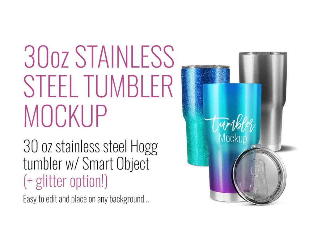 30oz Stainless Steel Glitter Hogg Mockup by SarahDesign
