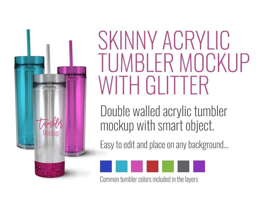 Skinny Acrylic Tumbler with Glitter Mockup by SarahDesign